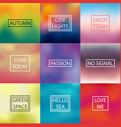 Set of square blurred backgrounds vector