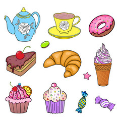Set of various sweets vector