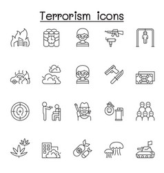 Set terrorism related line icons contains vector