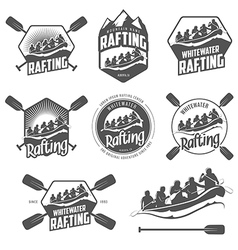 set vintage whitewater rafting labels vector image