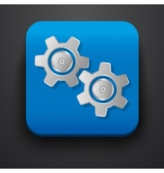 Setting gear symbol icon on blue vector image