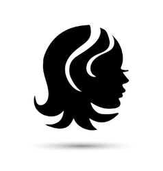 Silhouette woman head icon vector image