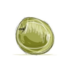 Sketch of apple for your design vector image