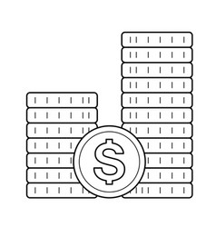 Stack of coins line icon vector