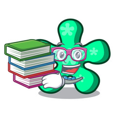 Student with book free form mascot cartoon vector