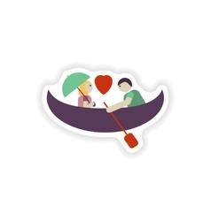 Stylish paper sticker on white background love vector