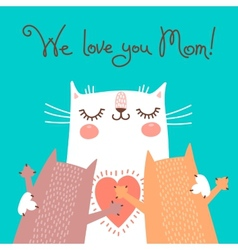 Sweet card for Mothers Day with cats vector