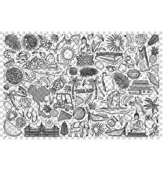 thailand doodle set vector image