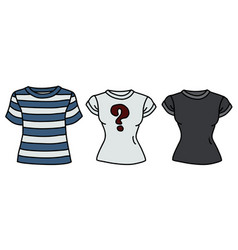 three funny color shirts vector image