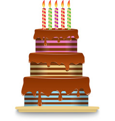 Three-tiered chocolate cake with candles vector