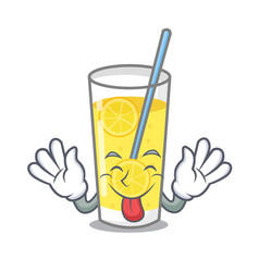 Tongue out lemonade mascot cartoon style vector