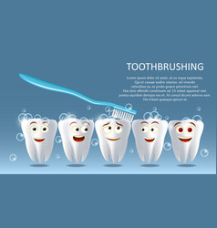 Tooth cleaning concept poster banner vector