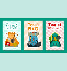 tourist camping backpack set banners cards vector image