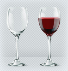 Transparency wine glass empty and full 3d realism vector