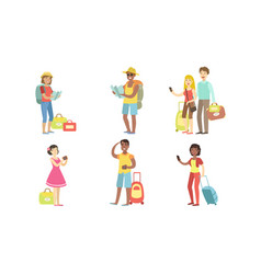 travel people characters set happy tourists vector image
