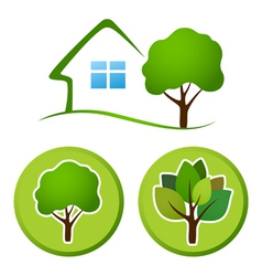 Tree emblem vector image vector image