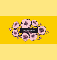 Vivid yellow and pastel pink peony flowers vector