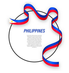 Waving ribbon flag philippines on circle frame vector