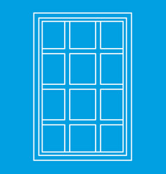 White latticed rectangle window icon outline vector