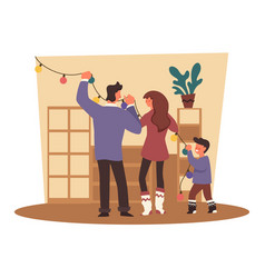 Winter holidays family decorating house for vector