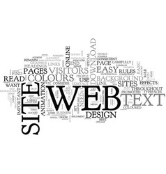 basic rules of web design text word cloud concept vector image vector image