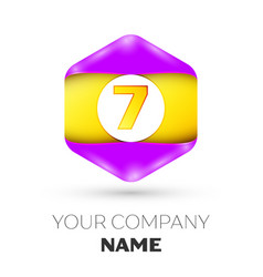 Number seven logo symbol in the colorful hexagonal vector