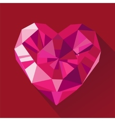 Polygonal red heart flat Valentine day card vector image