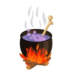 witch cauldron cartoon vector image