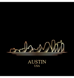 Gold silhouette of Austin on black background vector image