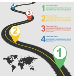 Road infographic with colorful pin pointer vector image
