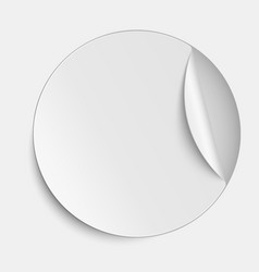 Round paper sticker on white background vector image vector image