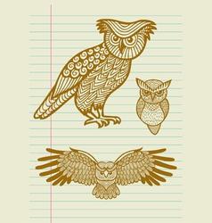 Vintage Decorative Owl Sketches vector image vector image