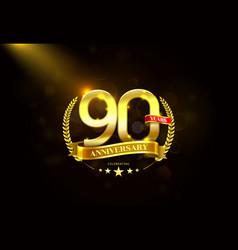 90 years anniversary with laurel wreath golden vector image vector image