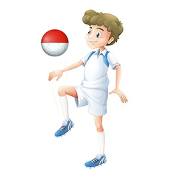 A male player using the ball with the flag of vector image