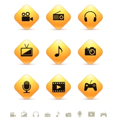 Multimedia icons on yellow rhombic buttons vector image