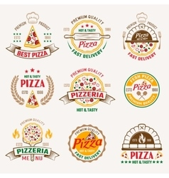 Pizzeria Colored Emblems vector image vector image
