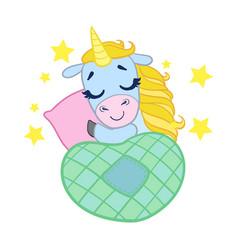 cartoon light blue lovely sleeping unicorn vector image