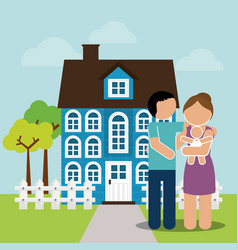 family home couple and baby image vector image vector image