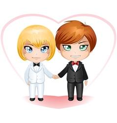 Gay Grooms Getting Married 2 vector image vector image