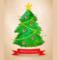 vintage postcard with christmas tree vector image vector image