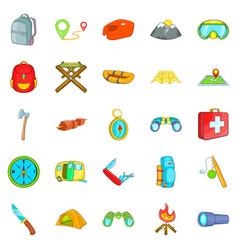 wilderness icons set cartoon style vector image