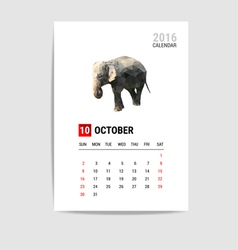 2016 October calendar elephant polygon vector