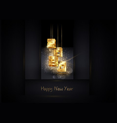 2020 happy new year luxury pink gold 3d numbers vector image