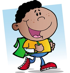 African American Walking School Boy vector image