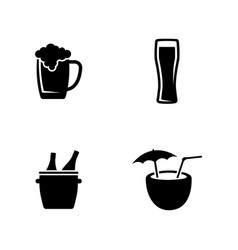 alcoholic simple related icons vector image