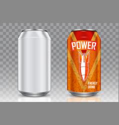 aluminum beverage can realistic mockup set vector image