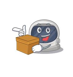 An picture astronaut helmet cartoon holding a box vector