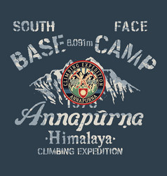 annapurna himalaya south face climbing expedition vector image