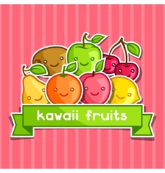 Background with cute kawaii smiling fruits vector image