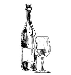 Bottle wine with glass vector